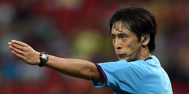 RECIFE, BRAZIL - JUNE 16:  Referee Yuichi Nishimura gestures during the FIFA Confederations Cup Brazil 2013 Group B match between Spain and Uruguay at the Arena Pernambuco on June 16, 2013 in Recife, Brazil.  (Photo by Miguel Tovar/Getty Images)