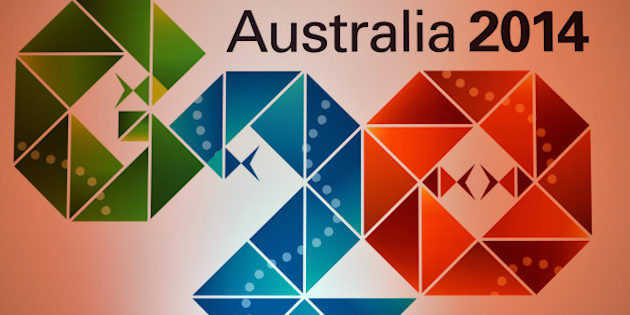 The Logo of the G20 Australia 2014 at the press conference room during the G20 Finance Ministers and Central Bank Governors meeting in Sydney on February 21, 2014. AFP PHOTO / Saeed KHAN        (Photo credit should read SAEED KHAN/AFP/Getty Images)