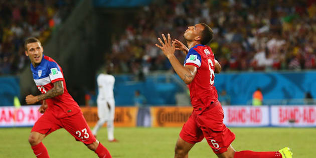 NATAL, BRAZIL - JUNE 16:  John Brooks of the United States (R) celebrates scoring his team's second goal with Fabian Johnson during the 2014 FIFA World Cup Brazil Group G match between Ghana and the United States at Estadio das Dunas on June 16, 2014 in Natal, Brazil.  (Photo by Kevin C. Cox/Getty Images)