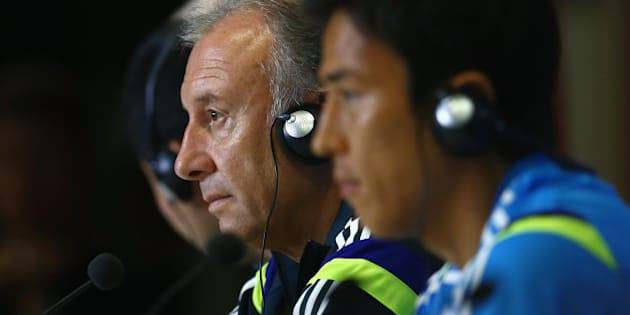 NATAL, BRAZIL - JUNE 18:  Japan head coach Alberto Zaccheroni  looks on as he listens to questions from the media during a Japan press conference session at the Dunas Arena in Natal on June 18, 2014 in Natal, Rio Grande do Norte.  (Photo by Mark Kolbe/Getty Images)