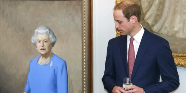 Britain's Prince William stands next to a portrait of his grandmother Queen Elizabeth II just after it was unveiled during a state reception at Government House in Wellington, New Zealand, Thursday, April 10, 2014. Prince William, his wife Kate, and their son, Prince George, are on a three-week tour of New Zealand and Australia.(AP Photo/Hagen Hopkins, Pool)
