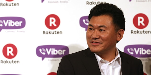 TOKYO, JAPAN - FEBRUARY 14:  Hiroshi Mikitani, chairman and chief executive officer of Rakuten, Inc. speaks during a press conference announcing the earning results for Q4 of fiscal year 2013 on February 14, 2014 in Tokyo, Japan.  (Photo by Chris McGrath/Getty Images for Rakuten)