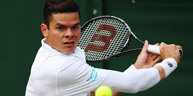 LONDON, ENGLAND - JUNE 26:  Milos Raonic of Canada in action during his Gentlemen's Singles second round match against Jack Sock of the United States on day four of the Wimbledon Lawn Tennis Championships at the All England Lawn Tennis and Croquet Club at Wimbledon on June 26, 2014 in London, England.  (Photo by Steve Bardens/Getty Images)