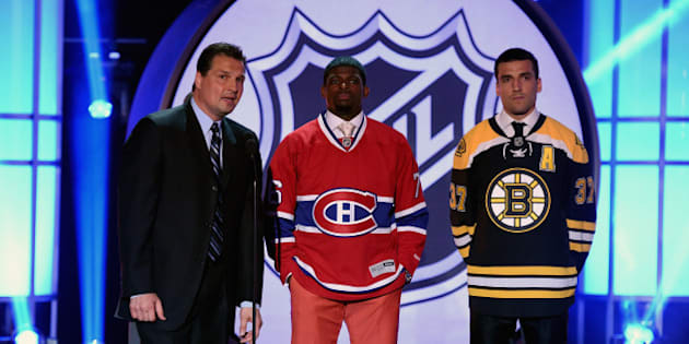 LAS VEGAS, NV - JUNE 24:  (L-R) Broadcaster Eddie Olczyk speaks with P.K. Subban of the Montreal Canadiens and Patrice Bergeron of the Boston Bruins during the 2014 NHL Awards at the Encore Theater at Wynn Las Vegas on June 24, 2014 in Las Vegas, Nevada.  (Photo by Ethan Miller/Getty Images)