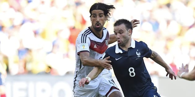 Germany's midfielder Sami Khedira (L) and France's midfielder Mathieu Valbuena vie for the ball during the quarter-final football match between France and Germany at the Maracana Stadium in Rio de Janeiro during the 2014 FIFA World Cup on July 4, 2014. AFP PHOTO / FRANCK FIFE        (Photo credit should read FRANCK FIFE/AFP/Getty Images)