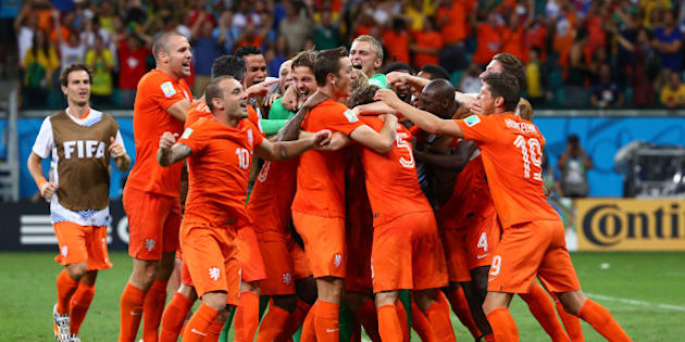 SALVADOR, BRAZIL - JULY 05:  Goalkeeper Tim Krul of the Netherlands celebrates with teammates after making a save in a penalty shootout to defeat Costa Rica during the 2014 FIFA World Cup Brazil Quarter Final match between the Netherlands and Costa Rica at Arena Fonte Nova on July 5, 2014 in Salvador, Brazil.  (Photo by Robert Cianflone/Getty Images)