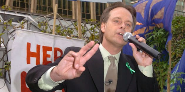 VANCOUVER, CANADA - SEPTEMBER 10:  Marc Emery addresses a crowd of four hundred that attended an anti-extradition rally held for him in front of the U.S. Consulate on September 10, 2005 in Vancouver, Canada. Marc Emery, leader of the British Columbia Marijuana Party, is facing extradition to the U.S.A for selling marijuana seeds on the internet. Emery attended one of many Free Marc Emery pot rallies across Canada, America and around the world.  (Photo by Don MacKinnon/Getty Images)