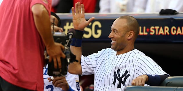 MINNEAPOLIS, MN - JULY 15:  American League All-Star Derek Jeter #2 of the New York Yankees reacts after a home run by Miguel Cabrera in the first inning during the 85th MLB All-Star Game at Target Field on July 15, 2014 in Minneapolis, Minnesota.  (Photo by Elsa/Getty Images)