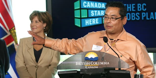 "Tk'emlups Indian Band Chief Shane Gottfriedson addresses the audience during B.C. Premier Christy Clark's stop at <strong><a href=""http://www.tru.ca"" rel=""nofollow""> Thompson Rivers University</a> </strong>in Kamloops on Sept. 20, 2011 to announce a piece of the government's new economic stimulus plan. 