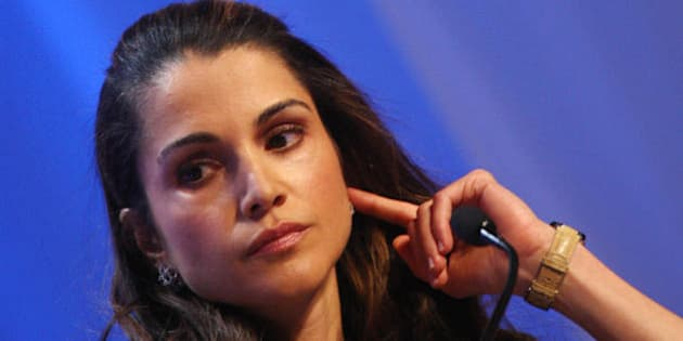 Queen Rania of Jordan listens during the session 'Corporate Global Citizenship in the 21st Century' at the World Economic Forum in Davos 25 January 2008. The annual Davos gathering of the world's political and business elite opened  23 January 2008.    AFP PHOTO JOEL SAGET (Photo credit should read JOEL SAGET/AFP/Getty Images)
