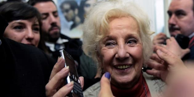 Estela de Carlotto, the president of Abuelas de Plaza de Mayo (Grandmothers of Plaza de Mayo), an association that seeks to reunite babies stolen during the military regime (1976-1983) with their biological parents or relatives, smiles after announcing the recovery of her grandson Guido --the son of her daughter Laura missing in 1976 and the 114th person identified by the group-- in Buenos Aires on August 5, 2014. A relative of de Carlotto said the identity of her grandson was confirmed through genetic testing.   AFP PHOTO / DANIEL GARCIA        (Photo credit should read DANIEL GARCIA/AFP/Getty Images)