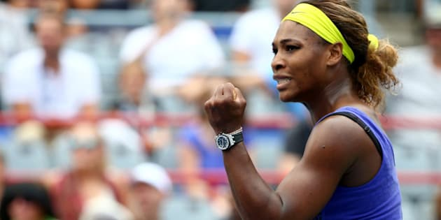 MONTREAL, QC - AUGUST 08:  Serena Williams of the USA reacts after a point against Caroline Wozniacki of Denmark in their quarterfinal match during the Rogers Cup at Uniprix Stadium on August 8, 2014 in Montreal, Canada.  (Photo by Streeter Lecka/Getty Images)