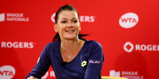 MONTREAL, QC - AUGUST 10:  Agnieszka Radwanska of Poland speaks to the media after defeating Venus Williams of the USA during the women's finals match at Uniprix Stadium on August 10, 2014 in Montreal, Canada.  (Photo by Streeter Lecka/Getty Images)