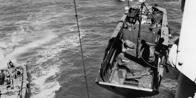 FRANCE - AUGUST 15 : The Landing Craft, Vehicle, Personnel (LCVP) or Higgins boat during Provence Landing On August 15 , 1944. (Photo by Gamma-Keystone via Getty Images)
