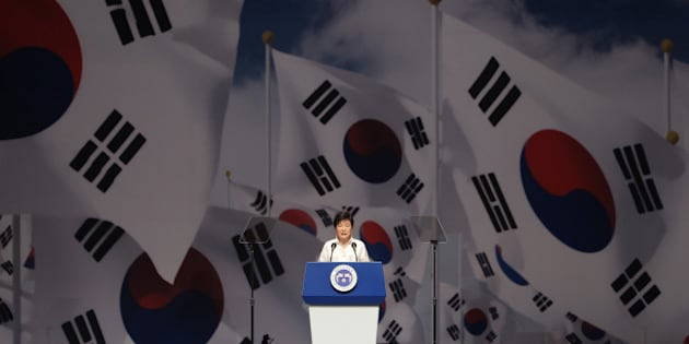 SEOUL, SOUTH KOREA - AUGUST 15:  South Korean President Park Geun-Hye speaks during the 69th Independence Day ceremony at Sejong Art Center on August 15, 2014 in Seoul, South Korea. Korea was liberated from Japan's 35-year colonial rule in 1945.  (Photo by Chung Sung-Jun/Getty Images)