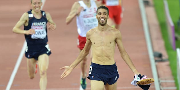 ZURICH, SWITZERLAND - AUGUST 14:  French athlete Mahiedine Mekhissi-Benabbad wins gold medal in the Men's 3000m steeplechase at the 22nd European Athletics Championships in Zurich, Switzerland on 14 August, 2014. (Photo by Mustafa Yalcin/Anadolu Agency/Getty Images)