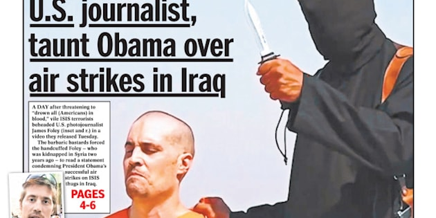 Daily News front page Agusut 20, 2014, SAVAGES - ISIS monster behead U.S. journalist, taunt Obama over air strikes in Iraq - James Foley. (Photo By: /NY Daily News via Getty Images)