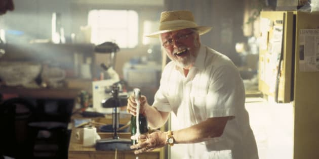 English actor Richard Attenborough as entrepreneur John Hammond in a scene from the film 'Jurassic Park', 1993.  (Photo by Murray Close/Getty Images)