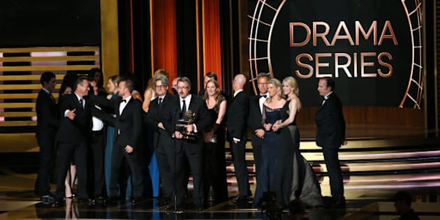 LOS ANGELES, CA - AUGUST 25:  66th ANNUAL PRIMETIME EMMY AWARDS -- Pictured: Writer/producer Vince Gilligan (c) and representatives of 'Breaking Bad' accept the Outstanding Drama Series award on stage during the 66th Annual Primetime Emmy Awards held at the Nokia Theater on August 25, 2014.  (Photo by Mark Davis/NBC/NBC via Getty Images)