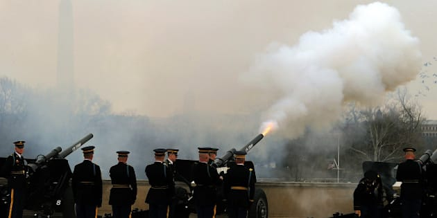 US military honor guard fire canons to gun-salute Chine Vice President Xi Jinping during a honor guard at the Pentagon in Washington, DC, on February 14, 2012. China's likely next leader Xi Jinping said Tuesday that Beijing will take concrete steps to improve human rights as he admitted 'there is always room for improvement.' AFP Photo/Jewel Samad (Photo credit should read JEWEL SAMAD/AFP/Getty Images)