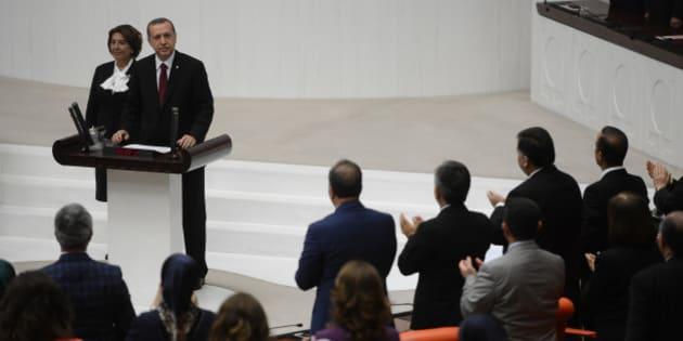 ANKARA, TURKEY - AUGUST 28:  Turkish President-elect Recep Tayyip Erdogan swears in as the Republic of Turkey's 12th president at the Turkish Grand National Assembly on August 28, 2014 in Ankara, Turkey. (Photo by Volkan Furuncu/Anadolu Agency/Getty Images)