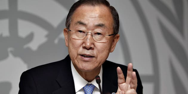 Ban Ki-moon, Secretary-General of the United Nations speaks during a press conference at the UN-City Building in Copenhagen on 23, October 2013 at the international Conference on Climate Change Global Green Growth Forum.  AFP PHOTO / SCANPIX DENMARK / MADS NISSEN  DENMARK OUT        (Photo credit should read Mads Nissen/AFP/Getty Images)