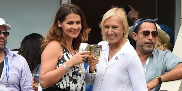 NEW YORK, NY - SEPTEMBER 06: Martina Navratilova (R) and Julia Lemigova celebrate their engagement during day 13 of the 2014 US Open at USTA Billie Jean King National Tennis Center on September 6, 2014 in New York City. (Photo by Uri Schanker/GC Images)