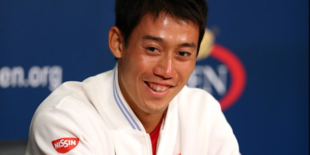 NEW YORK, NY - SEPTEMBER 06:  Kei Nishikori of Japan speaks to the media after defeating Novak Djokovic of Serbia in their men's singles semifinal match on Day Thirteen of the 2014 US Open at the USTA Billie Jean King National Tennis Center on September 6, 2014 in the Flushing neighborhood of the Queens borough of New York City.  Nishikori defeated Djokovic in four sets 6-4, 1-6, 7-6, 6-3.  (Photo by Matthew Stockman/Getty Images)