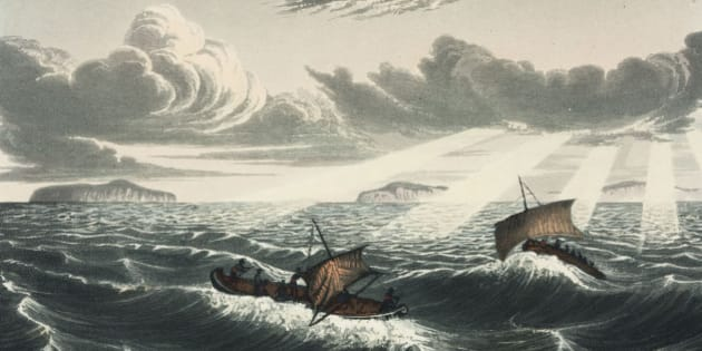 CANADA :  Engraving by Edward Finden after a drawing by George Back (1796-1878), one of the members of John Franklin?s (1786-1847) expedition, from Franklin?s ?Narrative of a journey to the shores of the Polar Sea, in the years 1819, 20, 21, and 22?, published in London in 1823. Franklin died in 1845 during another expedition, as did his entire team who perished of starvation and scurvy, although Franklin was posthumously credited with the discovery of the Northwest Passage.  (Photo by SSPL/Getty Images)