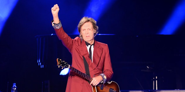 SAN FRANCISCO, CA - AUGUST 14:  Sir Paul McCartney performs live at the last event 'Farewell to Candlestick' concert at Candlestick Park on August 14, 2014 in San Francisco, California.  (Photo by C Flanigan/FilmMagic)
