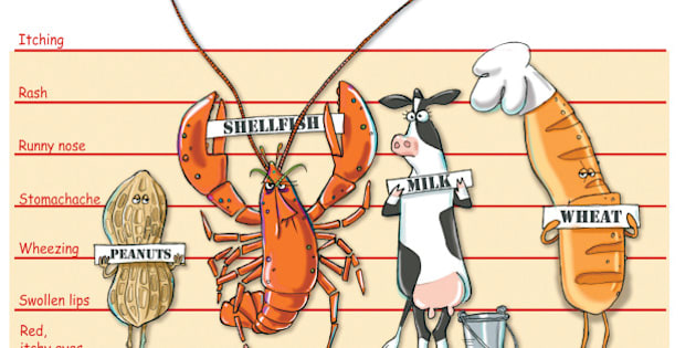 USA - 2007:  Camille Weber color illustration of food felons - food allergy lineup which includes peanuts, shellfish, dairy and wheat; can go with stories about food allergies. (Lexington Herald-Leader/MCT via Getty Images)