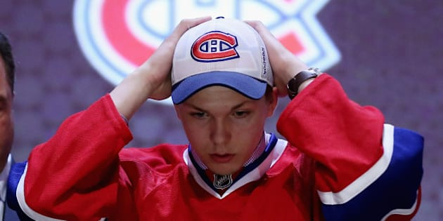PHILADELPHIA, PA - JUNE 27:  Nikita Scherbak is selected twenty-seventh by the Montreal Canadiens in the first round of the 2014 NHL Draft at the Wells Fargo Center on June 27, 2014 in Philadelphia, Pennsylvania.  (Photo by Bruce Bennett/Getty Images)