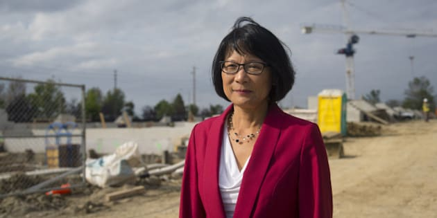TORONTO, ON - SEPTEMBER 9:  Toronto mayoral candidate Olivia Chow uses the backdrop of a condo construction site at Eglinton Ave. West and Widdicombe Hill Blvd to illustrate that John Tory's SmartTrack plan to build a heavy rail line from that location to Mississauga is not possible during a Tuesday morning press conference.        (Chris So/Toronto Star via Getty Images)