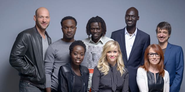 TORONTO, ON - SEPTEMBER 08:  (EDITORS NOTE: This image was processed using digital filters) (L-R) (Top Row L-R) Actor Corey Stoll, actor Arnold Oceng, and actor Emmanuel Jal,  actor Ger Duany,  director Philippe Falardeau (bottome row L-R)  actress Kuoth Wiel, actress Reese Witherspoon and screenwriter Margaret Nagle of 'The Good Lie' pose for a portrait during the 2014 Toronto International Film Festival on September 8, 2014 in Toronto, Ontario.  (Photo by Jeff Vespa/WireImage)