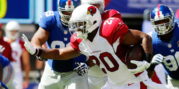 EAST RUTHERFORD, NJ - SEPTEMBER 14:  (NEW YORK DAILIES OUT)    Jonathan Dwyer #20 of the Arizona Cardinals in action against the New York Giants on September 14, 2014 at MetLife Stadium in East Rutherford, New Jersey. The Cardinals defeated the Giants 25-14.  (Photo by Jim McIsaac/Getty Images)