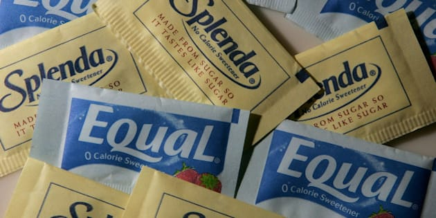 SAN RAFAEL, CA - APRIL 9:  Packages of Equal and Splenda artificial sweeteners are displayed at a coffee shop April 9, 2007 in San Rafael, California. Merisant, the maker of Equal filed a lawsuit today against McNeil Nutritionals, the maker of Splenda, citing that Splenda's advertising is misleading consumers to believe that the sweetener is all natural and made from sugar. McNeil Nutritionals claims that Splenda does originate from sugar.  (Photo illustration by Justin Sullivan/Getty Images)