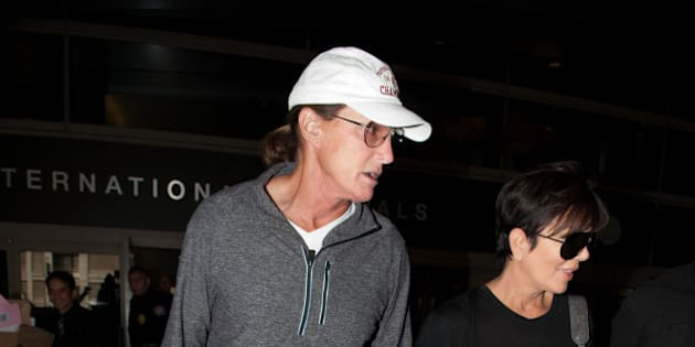 LOS ANGELES, CA - APRIL 02: Bruce Jenner and Kris Jenner are seen at LAX on April 02, 2014 in Los Angeles, California.  (Photo by GONZALO/Bauer-Griffin/GC Images)