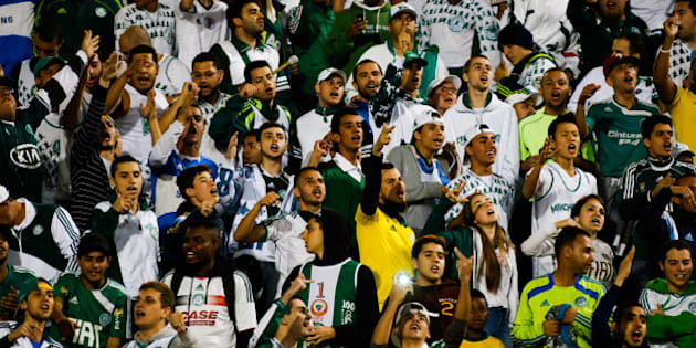SAO PAULO, BRAZIL - SEPTEMBER 17: Cheers of Palmeiras in action during the match between Palmeiras e Flamengo for the Brazilian Series A 2014 at Pacaembu stadium on September 17, 2014 in Sao Paulo, Brazil. (Photo by Alexandre Schneider/Getty Images)
