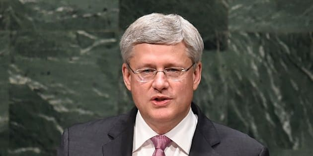 Canada's Prime Minister Stephen Harper speaks during the 69th Session of the UN General Assembly at the United Nations in New York on September 25, 2014. AFP PHOTO/Jewel Samad        (Photo credit should read JEWEL SAMAD/AFP/Getty Images)