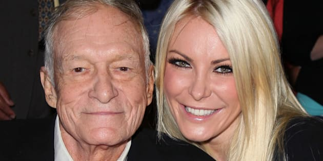 BEVERLY HILLS, CA - AUGUST 07:  Playboy founder Hugh Hefner (L) and TV personality Crystal Harris attend the Beverly Hills City Council and Playboy Enterprises, Inc.'s celebration of the return of Playboy headquarters to Beverly Hills on August 7, 2012 in Beverly Hills, California.  (Photo by David Livingston/Getty Images)