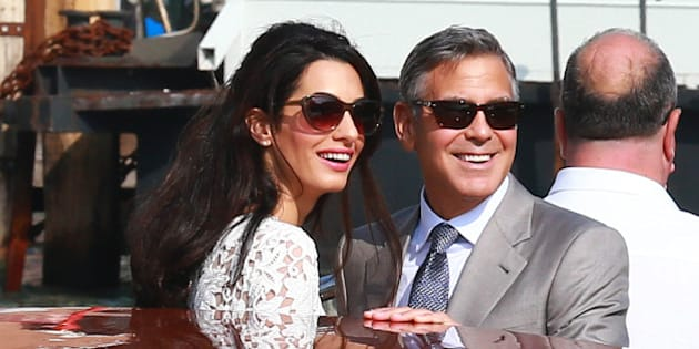 VENICE, ITALY - SEPTEMBER 28:  Actor George Clooney and Amal Alamuddin sighted on Canal Grande on September 28, 2014 in Venice, Italy.  (Photo by Robino Salvatore/GC Images)
