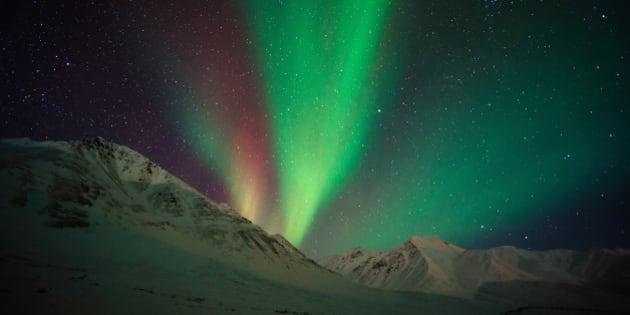 Aurora borealis ( northern lights ) above Alaskan Mountain. This shot was taken at Atigun Pass, Dalton Highway, Alaska, USA