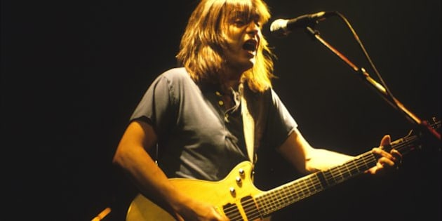 BLOOMINGTON, MN - SEPTEMBER 29:  Malcolm Young of the rock band AC/DC performs at the Met Center in Bloomington, Minnesota on the Fly On the Wall tour on September 29, 1985. (Photo by Jim Steinfeldt/Michael Ochs Archives/Getty Images)