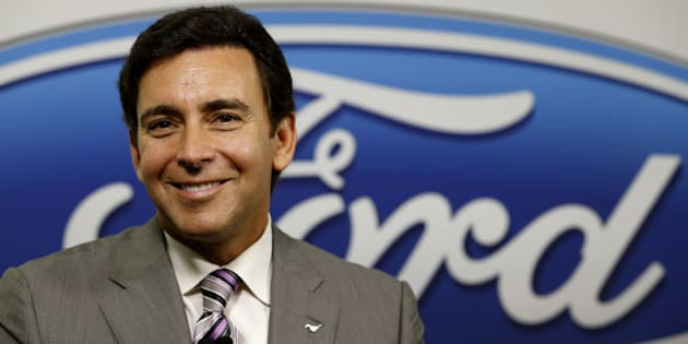 Mark Fields, president and chief executive officer of Ford Motor Co., smiles during a news conference following presentations to investors in Dearborn, Michigan, U.S., on Monday, Sept. 29, 2014. Ford Motor Co., the second-largest U.S. automaker, aims to rank among the top five in global auto sales, up from sixth last year, the company said in a presentation to investors. Photographer: Jeff Kowalsky/Bloomberg via Getty Images