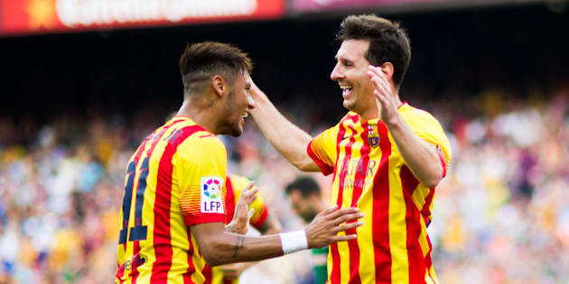 BARCELONA, SPAIN - SEPTEMBER 13: Neymar Santos Jr (L) of FC Barcelona celebrates with his teammate Lionel Messi after scoring his second team's goal during the La Liga match between FC Barcelona and Athletic Club at Camp Nou on September 13, 2014 in Barcelona, Spain. (Photo by Alex Caparros/Getty Images)
