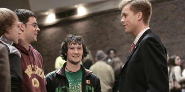 Senate candidate Robert Fitzgerald chats after a debate last week in St. Paul, Minn. (AP Photo/Jim Mone)