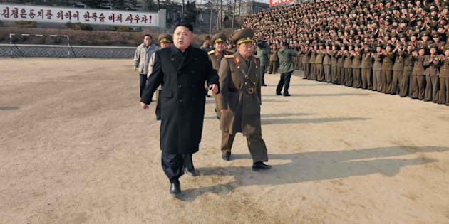 This undated picture released from North Korea's official Korean Central News Agency (KCNA) on January 12, 2014 shows North Korean leader Kim Jong-Un (front L) inspecting the command of Korean People's Army (KPA) Unit 534.    AFP PHOTO / KCNA via KNS    REPUBLIC OF KOREA OUT   THIS PICTURE WAS MADE AVAILABLE BY A THIRD PARTY. AFP CAN NOT INDEPENDENTLY VERIFY THE AUTHENTICITY, LOCATION, DATE AND CONTENT OF THIS IMAGE. THIS PHOTO IS DISTRIBUTED EXACTLY AS RECEIVED BY AFP    ---EDITORS NOTE--- RESTRICTED TO EDITORIAL USE - MANDATORY CREDIT 'AFP PHOTO / KCNA VIA KNS' - NO MARKETING NO ADVERTISING CAMPAIGNS - DISTRIBUTED AS A SERVICE TO CLIENTS        (Photo credit should read KNS/AFP/Getty Images)