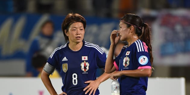 YAMAGATA, JAPAN - SEPTEMBER 13: Aya Miyama of Japan and Nahomi Kawasumi of Japan discuss each other during the women's international friendly match between Japan and Ghana at ND Soft Stadium on September 13, 2014 in Yamagata, Japan.  (Photo by Kaz Photography/Getty Images)