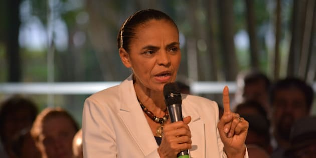 SAO PAULO, BRAZIL - SEPTEMBER 30 :  Marina Silva, the Brazilian Socialist Party (PSB) presidential candidate attends a campaign meeting with supporters in Sao Paulo, Brazil on September 30, 2014. (Photo by Ben Tavener/Anadolu Agency/Getty Images)