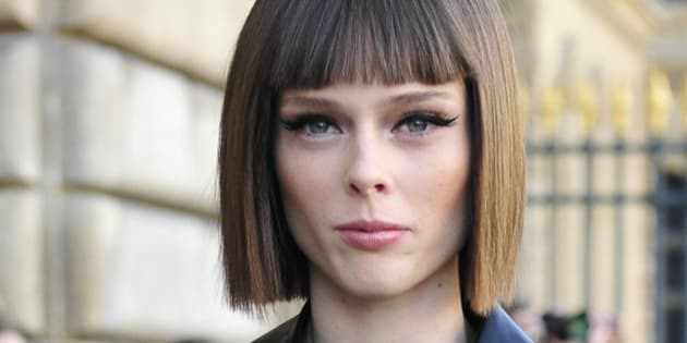 Canadian model Coco Rocha arrives at Dior's Spring/Summer 2015 ready-to-wear fashion collection presented in Paris, France, Friday, Sept. 26, 2014. (AP Photo/Zacharie Scheurer)